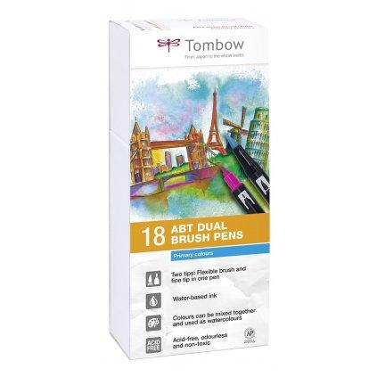 Tombow,  ABT-18P-1, ABT Dual Brush pen, oboustranné popisovače, Primary/Base tone, 18 ks