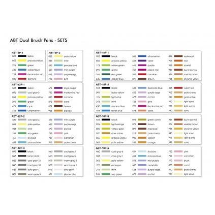 Tombow, ABT-18P-5, ABT Dual Brush pen, oboustranné popisovače, Pastel tone, 18 ks