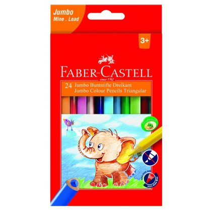 Faber-Castell, 116524, sada trojhranných pastelek Extra Jumbo, 24 ks