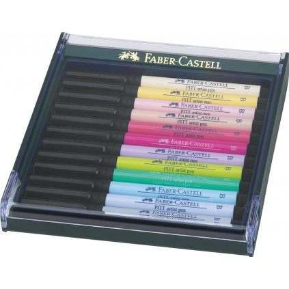 Faber-Castell, 267420, PITT artist pen, brush popisovače, pastelové odstíny, 12 ks