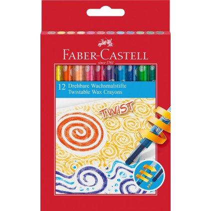 Faber-Castell, 120003, Twist, olejové pastely (voskovky), šroubovací, 12 ks