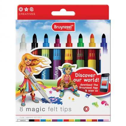 Bruynzeel, 7951K08, Magic felt tips set, magické fixy, 8 ks