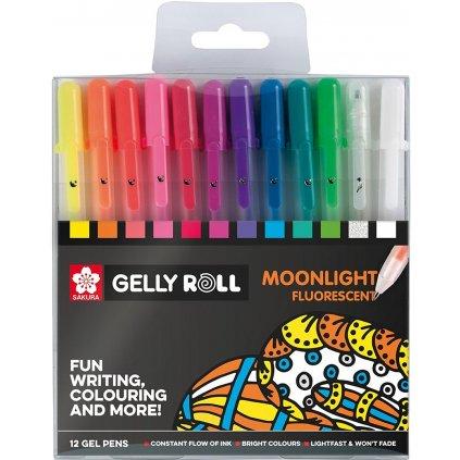 Sakura, POXPGM0012, Gelly roll Moonlight set, sada gelových per, fluorescenční, 12 ks