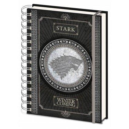 Zápisník A5, SR72501, motiv Game of thrones - logo Stark, kroužková vazba, 1 ks