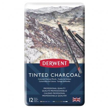 Derwent, 2301690, Tinted Charcoal, sada tónovaných uhlů, 12 kusů