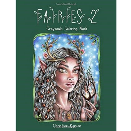 Fairies 2, grayscale colouring book, Christine Karron