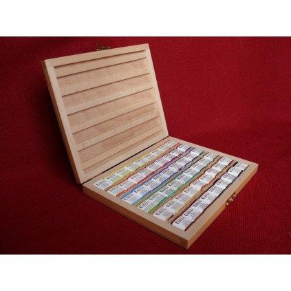 Umton, Q-54, Sada akvarelových barev v dřevěné kazetě, 2,6 ml, 54 kusů
