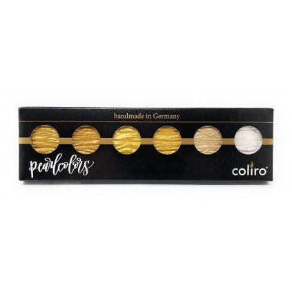 Coliro, M600, Pearl colors, metalické, perleťové akvarelové barvy, 6 odstínů, Gold/Silver