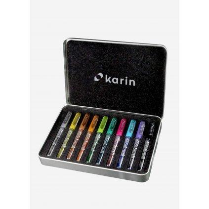 Karin, 28 Z1, Decobrush Metallic, sada štětečkových, metalických popisovačů, 10 ks