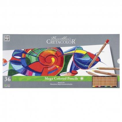 Cretacolor, 29036, Mega colored pencils, sada silných uměleckých pastelek, 36 ks