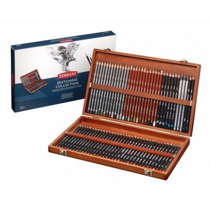 Derwent, 2301902, Sketching Collection, sada pastelek a tužek ke skicování v luxusní dřevěné kazetě, 72 ks