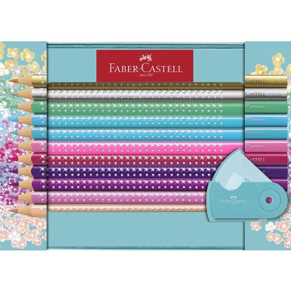 Faber-Castell, 201641, Sparkle Grip, sada Grip pastelek s třpytivým efektem, 20 ks
