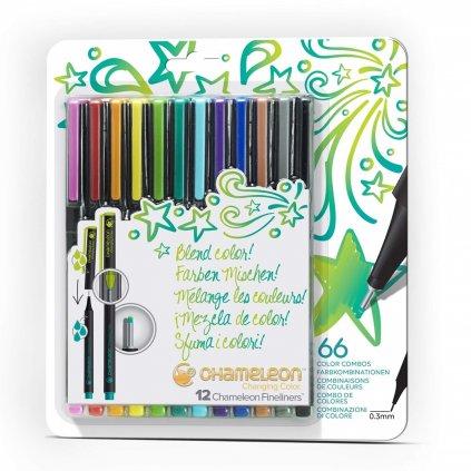 Chameleon, FL1201, fineliners, sada tónovacích linerů, 12 ks, Bright tones
