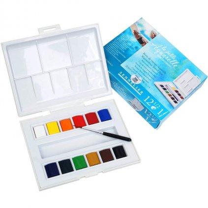 Sennelier, 131680, La Petite Aquarelle, studentské akvarelové barvy, 12 1/2 pánviček