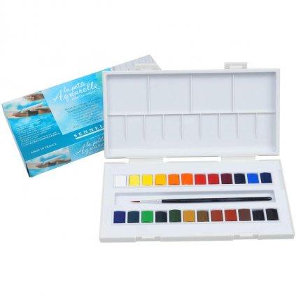 Sennelier, 131681, La Petite Aquarelle, studentské akvarelové barvy, 24 1/2 pánviček