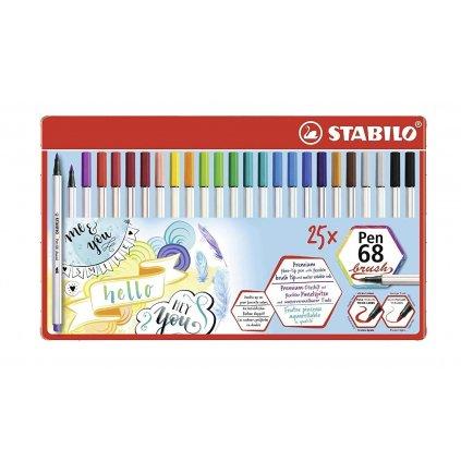 Stabilo, 568/25-321, Pen 68 brush, štětečkové fixy, 25 ks