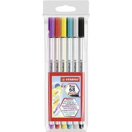 Stabilo, 568/06-11, Pen 68 brush, štětečkové fixy, 6 ks