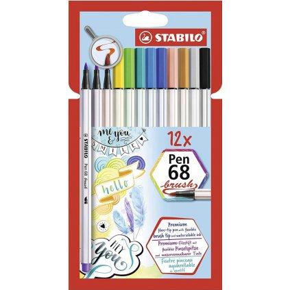 Stabilo, 568/12-21, Pen 68 brush, štětečkové fixy, 12 ks