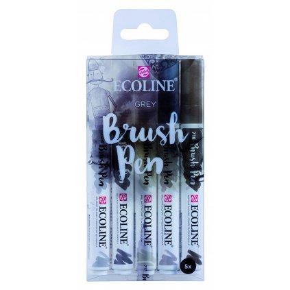 Royal Talens, 11509907, Ecoline brushpen set, sada štětečkových akvarelových popisovačů, grey, 5 ks