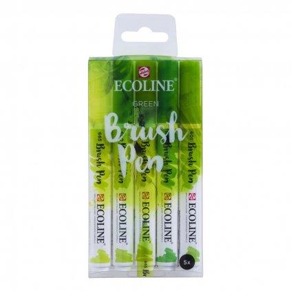 Royal Talens, 11509906, Ecoline brushpen set, sada štětečkových akvarelových popisovačů, green, 5 ks