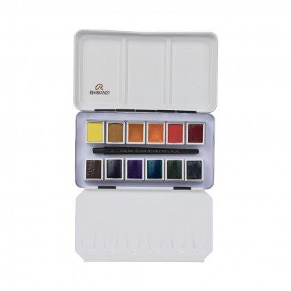 Royal Talens, 05838695, Rembrandt, sada mistrovských akvarelových barev, 12 pánviček, Landscape selection