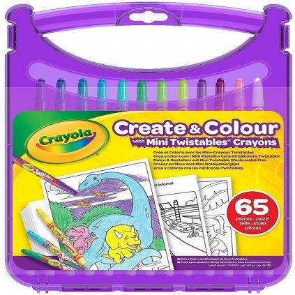 Crayola, 04-0378-E-000, Create & Colour, cestovní sada pastelek s pracovními listy, 65 ks