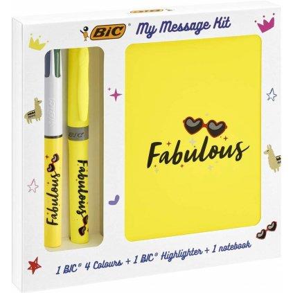 Bic, 972090, My message kit, sada zápisníku a psacích potřeb, Fabulous