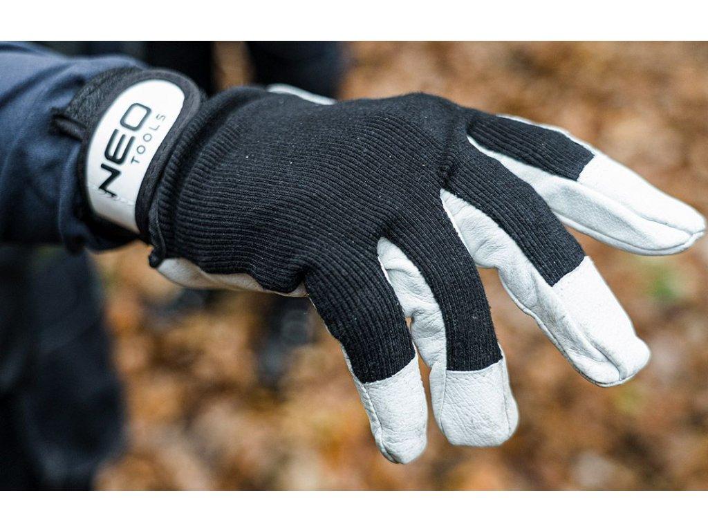Kožené pracovní rukavice, v. 8, 97-604 NEO TOOLS