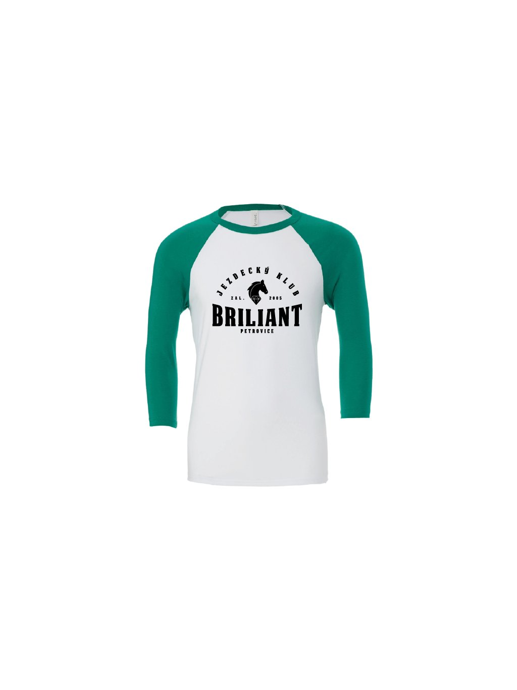 Baseball tee white kelly green