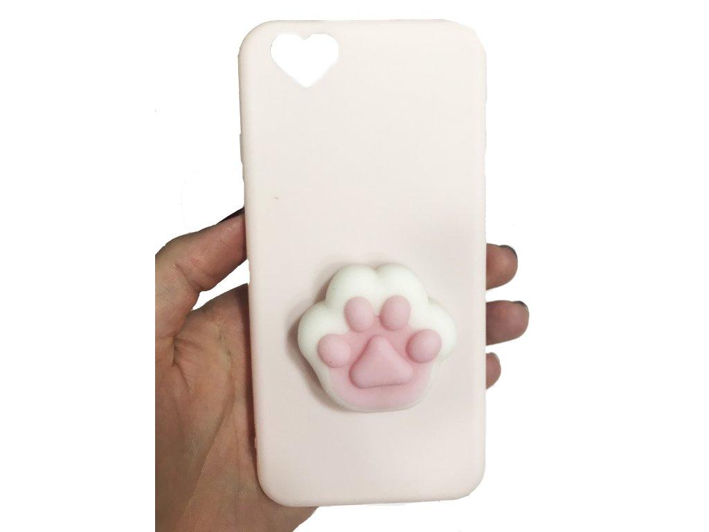 3D antistresový mačkací kryt růžový, tlapka iPhone 6