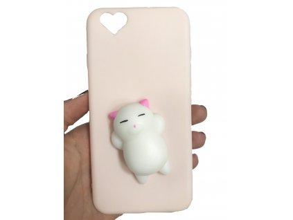 3D antistresový krytrůžový, kočička bílá - srdíčko, iPhone