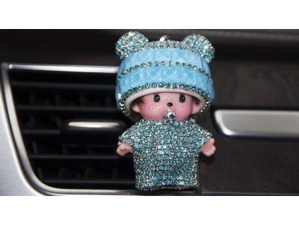 mini poppi monchichi osvěžovaž vzduchu do auta auto vůně doplněk kamínky ozdoba panenka panda