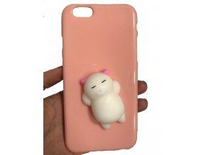 růžová bílá kočička gumová mačkací 3D kryt obal na iPHONE