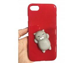 3D antistresový mačkací kryt červený, kočička šedá, iPhone 7