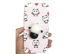 3D antistresový mačkací kryt růžový, panda, iPhone 6