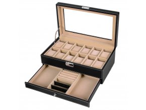 Kufřík na hodinky a šperky z umělé kůže / 12hodinek