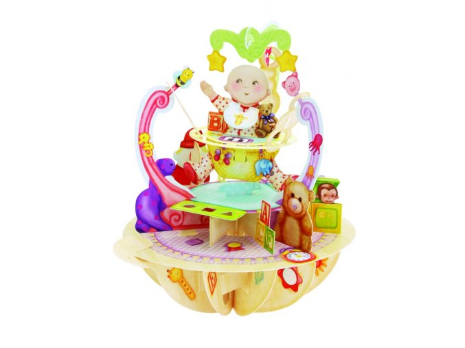 cd13164 baby in jumper bouncer 3d pop up new baby congratulations card santoro pirouettes
