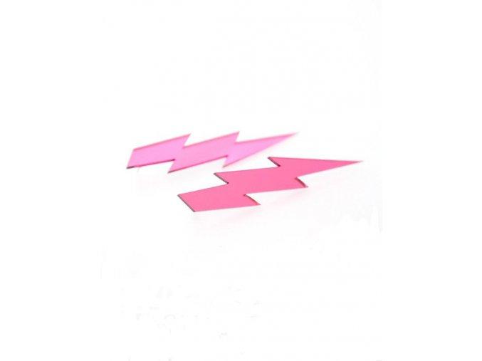 Suzywan Deluxe Náušnice dámské  Blesky růžové plast BL1