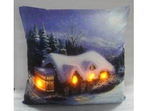 Polštář zimní chaloupka svítící