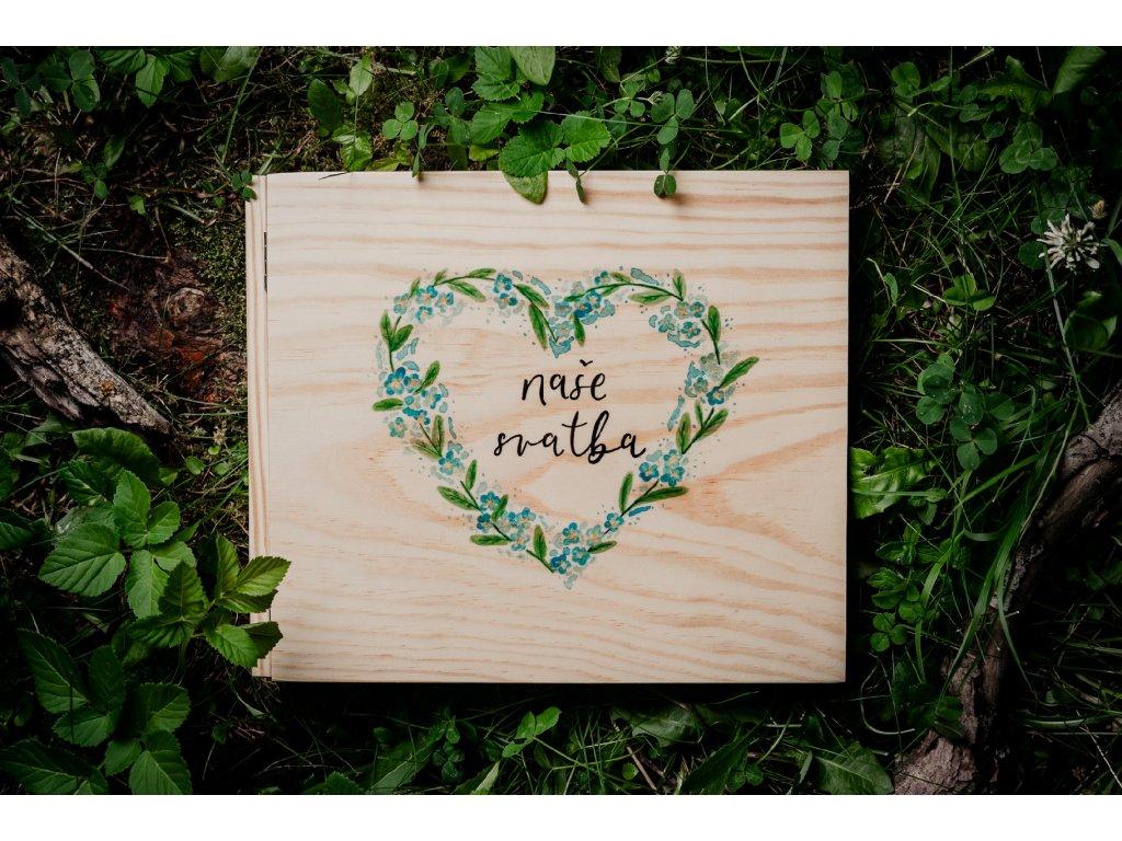 """Pomněnkové srdce """"Naše svatba"""""""