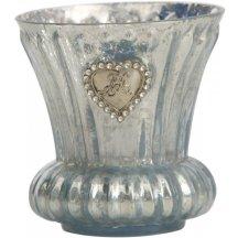 Lene Bjerre Svietnik na čajovú sviečku Graceful, bledomodrý s patinou, 8 cm