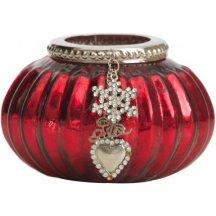 Lene Bjerre Svietnik na čajovú sviečku Graceful, červený s patinou