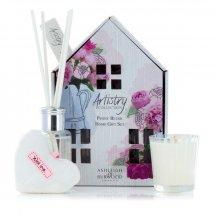 Ashleigh & Burwood Darčekový set ARTISTRY  - PEONY BLUSH (ružová pivoňka), vonná sviečka, difuzér a ozdoba, 3 ks
