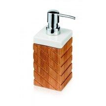 Dávkovač na tekuté mýdlo, keramika a bambus, 7 x 7 x 18 cm