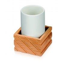 Stojan na zubné kefky, keramika a bambus, 7,5 x 7,5 x 10,5cm