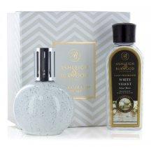 Ashleigh & Burwood Darčekové balenie Malá katalytická lampa GREY SPECKLE s vôňou WHITE VELVET, 250 ml
