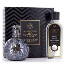Ashleigh & Burwood Darčekové balenie Malá katalytická lampa WOODLAND s vonnou esenciou JASMINE & FRESH LINEN 250 ml