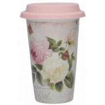 Creativ Tops Cestovný hrnček porcelánový  Rose Garden , 350 ml