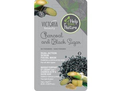 Victoria Beauty Pleťová maska s dreveným uhlím a čierym cukrom, 2x 7ml
