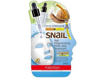 Purederm Pleťová maska Regeneračné ampulky s kolagénom + 3D maska sa slimačím extraktom